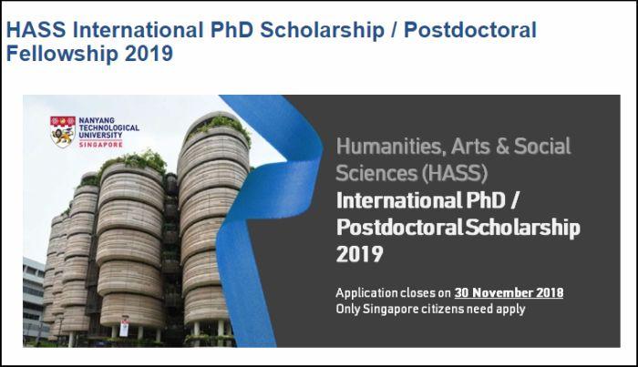 HASS International PhD Scholarship/Postdoctoral Fellowship2019