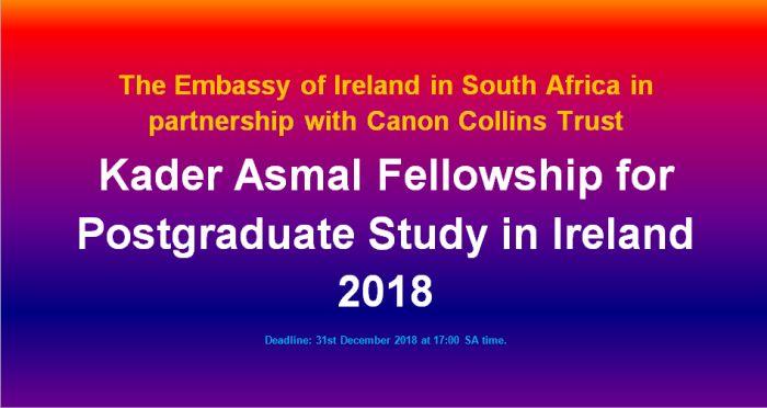 Kader Asmal Fellowship for Postgraduate Study in Ireland 2018