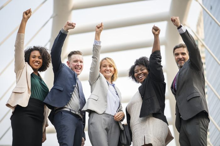 Successful and happy business team