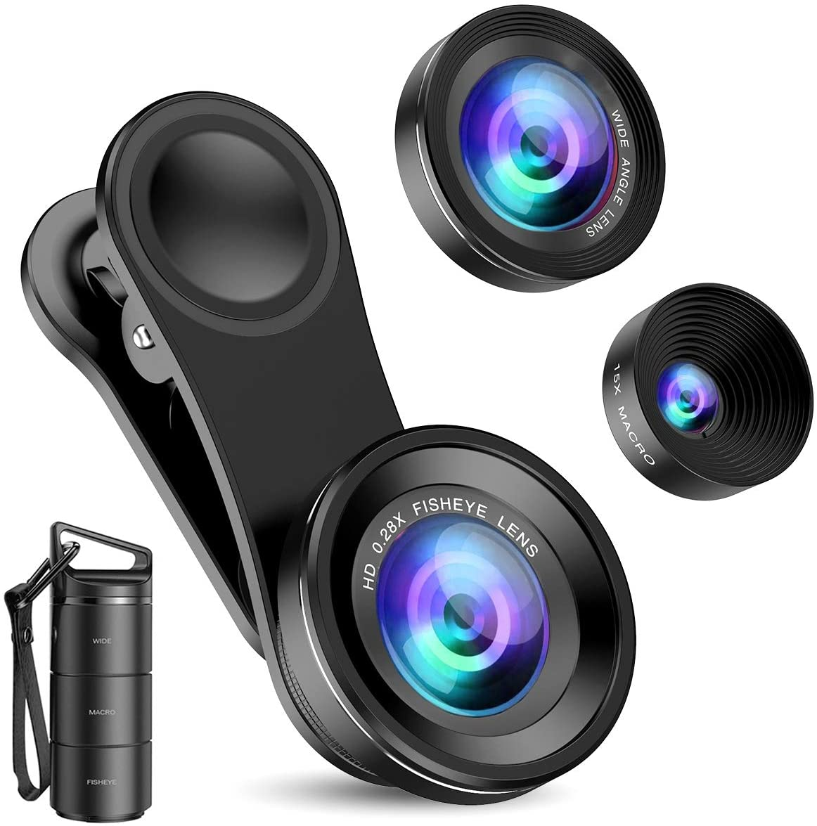 Criacr Phone Camera Lens, 3 in 1 Cell Phone Lens Kit for iPhone, Samsung, 180°Fisheye Lens, 0.6X Wide Angle Lens, 15X Macro Lens, for TIK Tok Video, Live Show, Video Chat, Vlog, etc