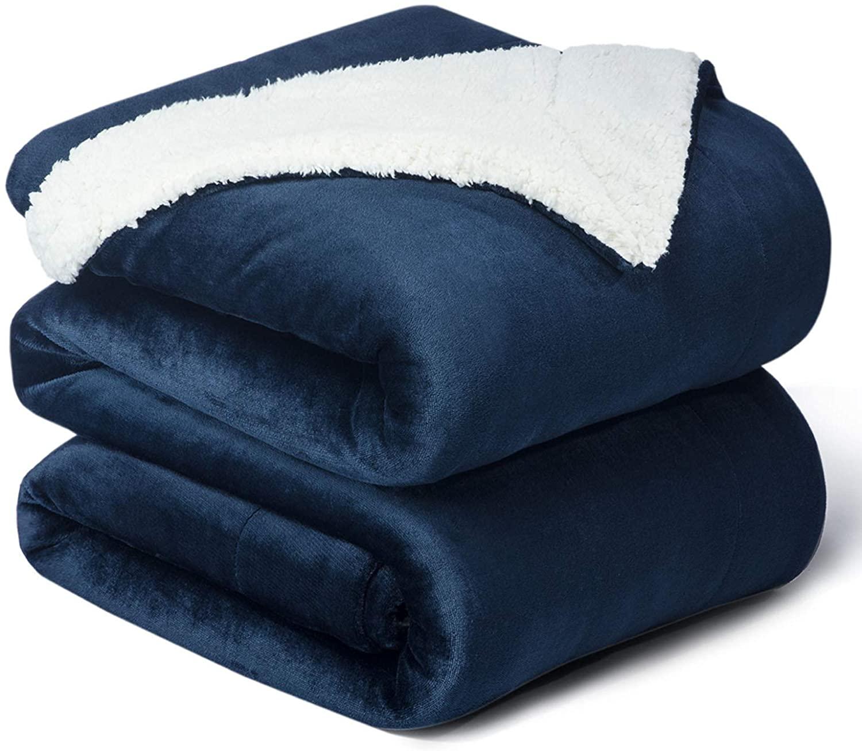 Bedsure Sherpa Fleece Blanket Queen Size(Not Electrical), Navy Blue Plush Blanket Fuzzy Soft Blanket Microfiber