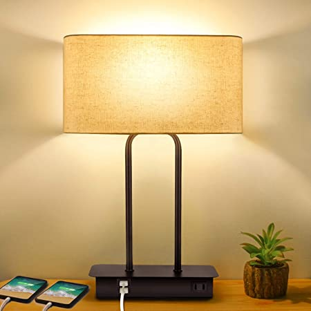 3 Way's Touch Controlled Pole & Base Lamp with Two USB Ports and AC Power Outlet