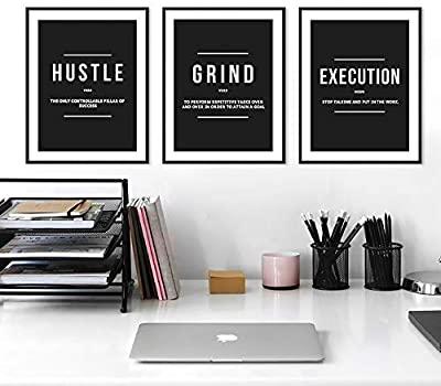 Grind Hustle Execution Positive Affirmation Posters