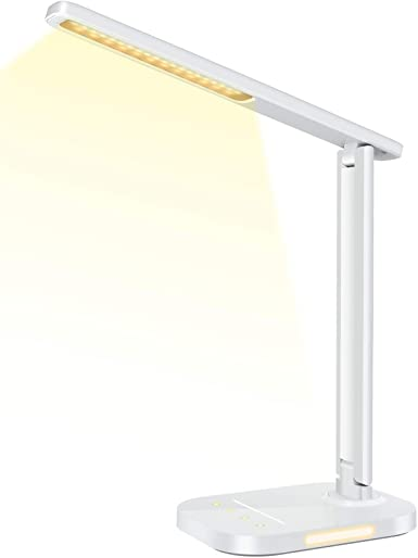 Litom's Strong & Durable Desk Lamp with USB Charging Port and Night Light