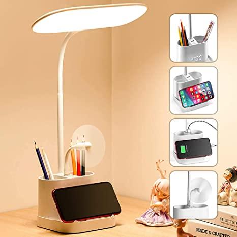 Mubarek's White LED Desk Lamp with USB Charging Port and Pen Holder