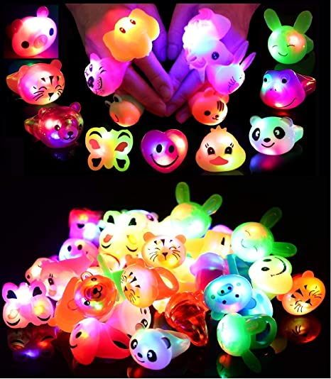24 Pack LED Light Up Bumpy Rings Party Favors For Kids Prizes Box