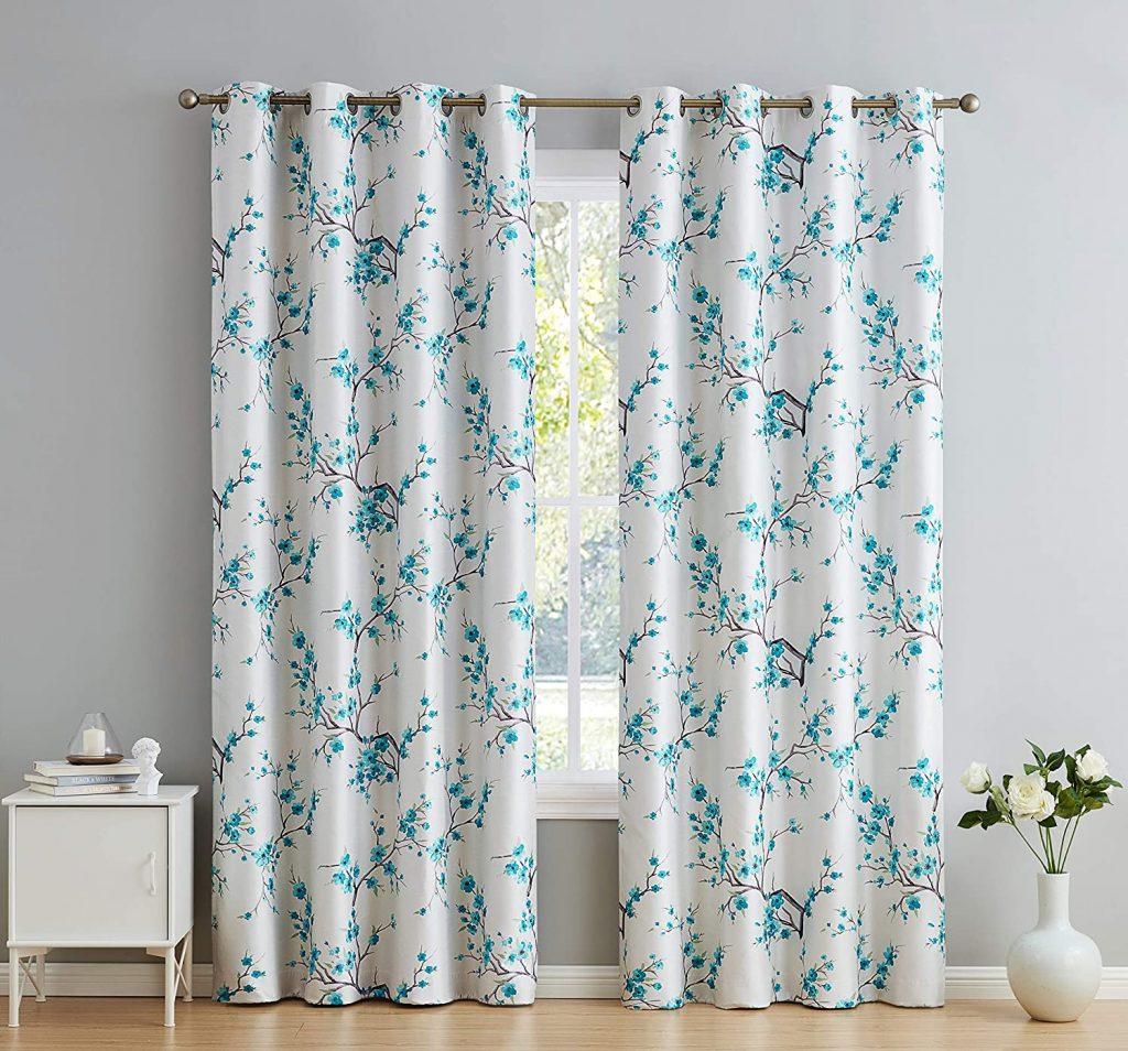 6. HLC.ME Jasmine Floral Curtains for Dorm Rooms with Faux Silk 100% Blackout Darkening Thermal Insulated