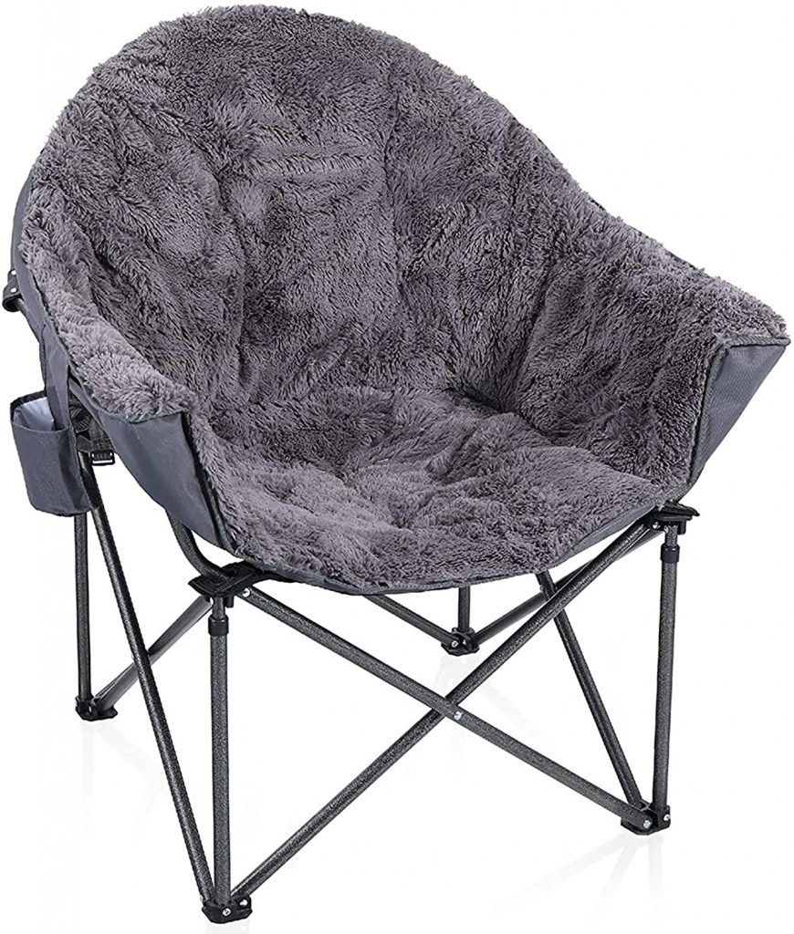 ALPHA CAMP Plush Moon Saucer Chair with Carry Bag