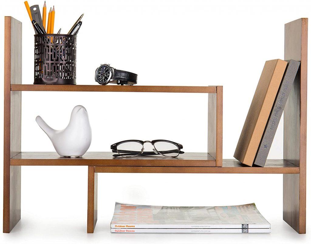 Adjustable Wood Desktop Storage Organizer Display Shelf with Brown Shade