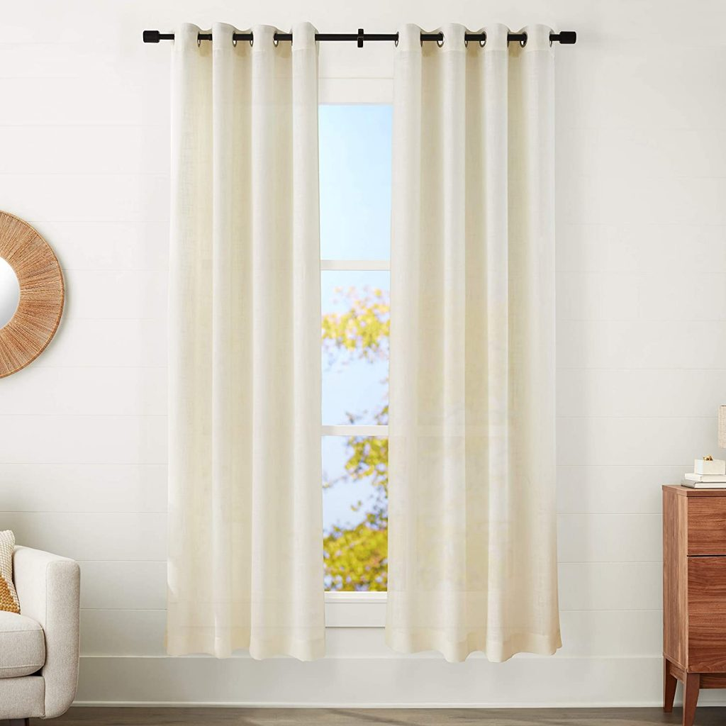 """Amazon Basics Sheer Window Curtain for Dorm Paired With Grommets, Measures Around 50"""" X 84"""""""
