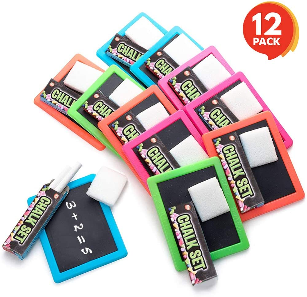 ArtCreativity Neon Chalkboard Set with 12 Kits - 1 Mini Chalk Board, 2 Chalk Sticks, and 1 Eraser in Per Kit