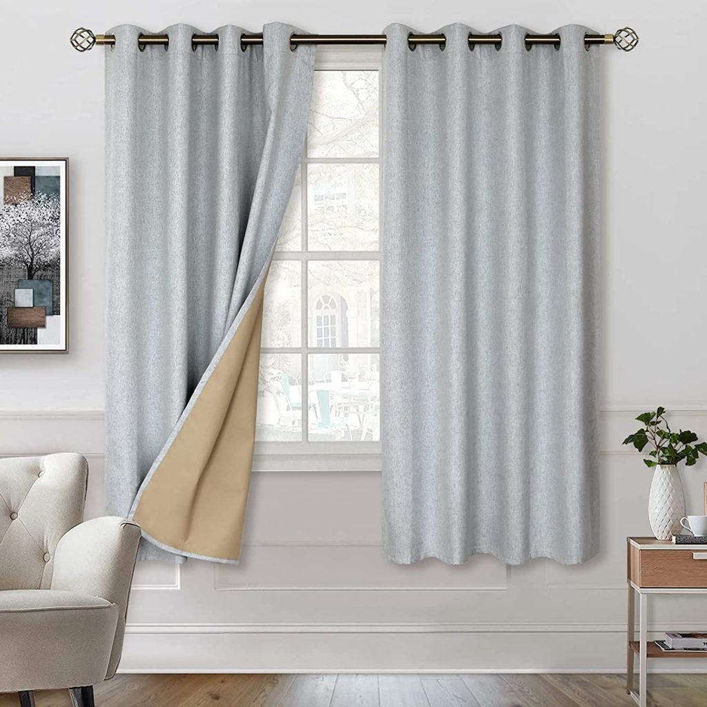 BGment 100% Blackout Curtains with Liner forDorm Rooms