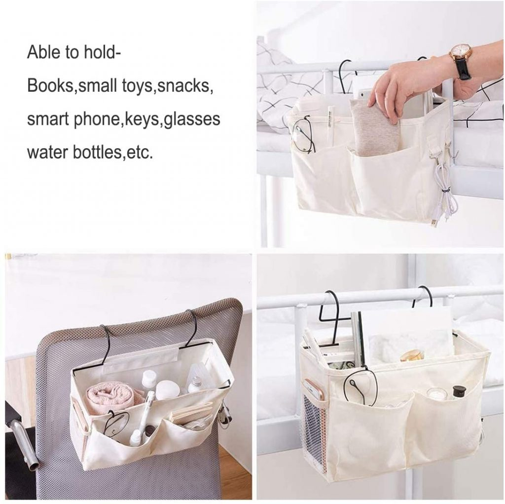 Bedside Caddy for Dorms with Hangers