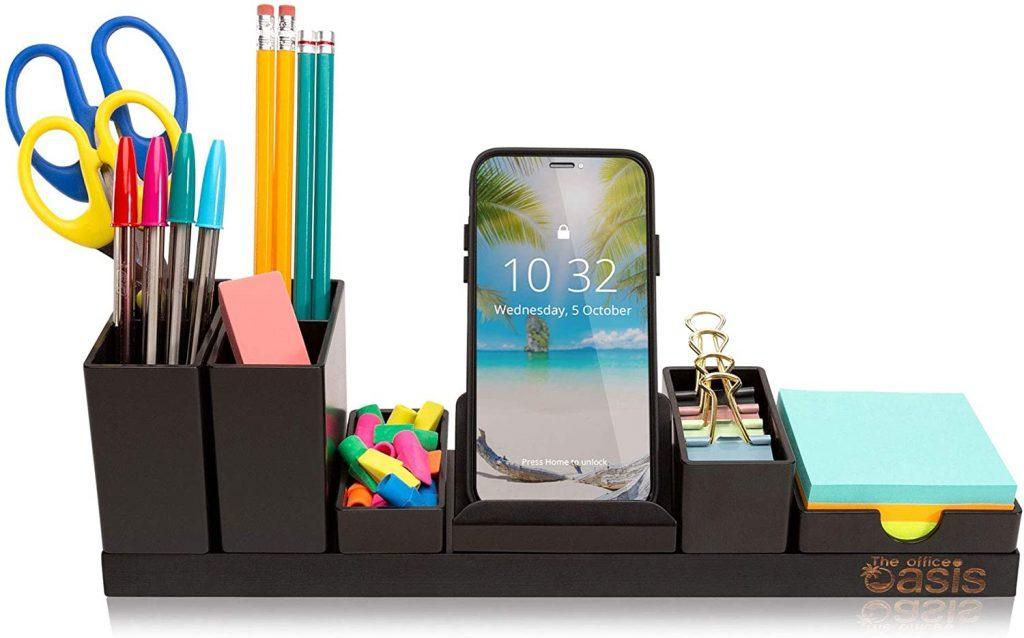 Black Compact Desk Organizer with Adjustable Pen Holder