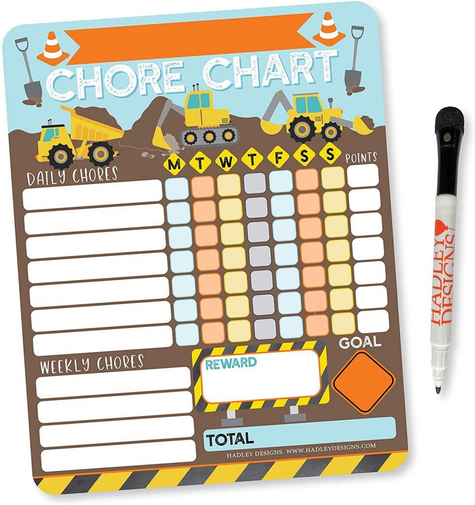 Construction Kids Chore Chart for kids Behavior