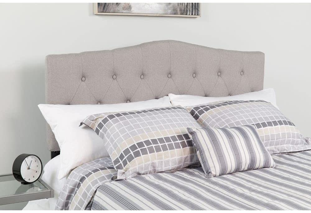 Dorm Headboard with Gray Fabric Upholstered Panel