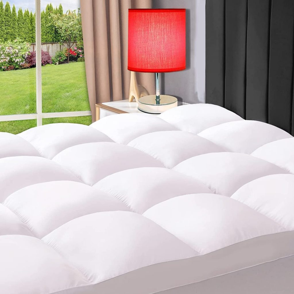 ELEMUSE Twin White Cooling Mattress Topper with Elastic Deep Pocket