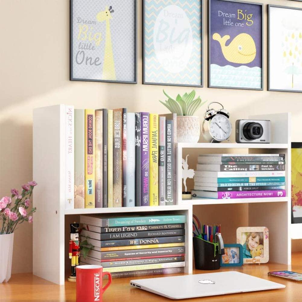 Expandable Wood Desktop Bookshelfwith Free Style Display Stand