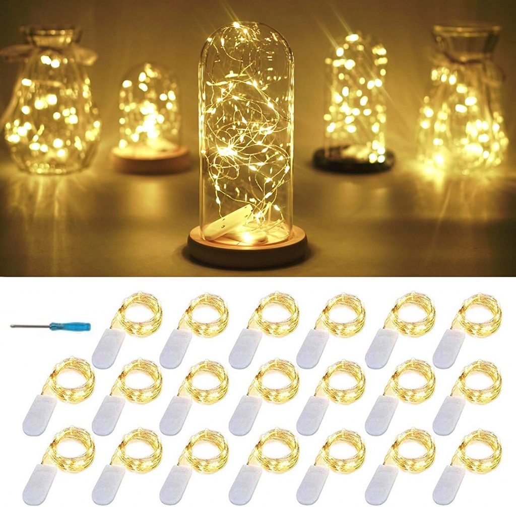 FELISHINE String Lights with 20 LEDs Battery Operated Silver Copper Wire