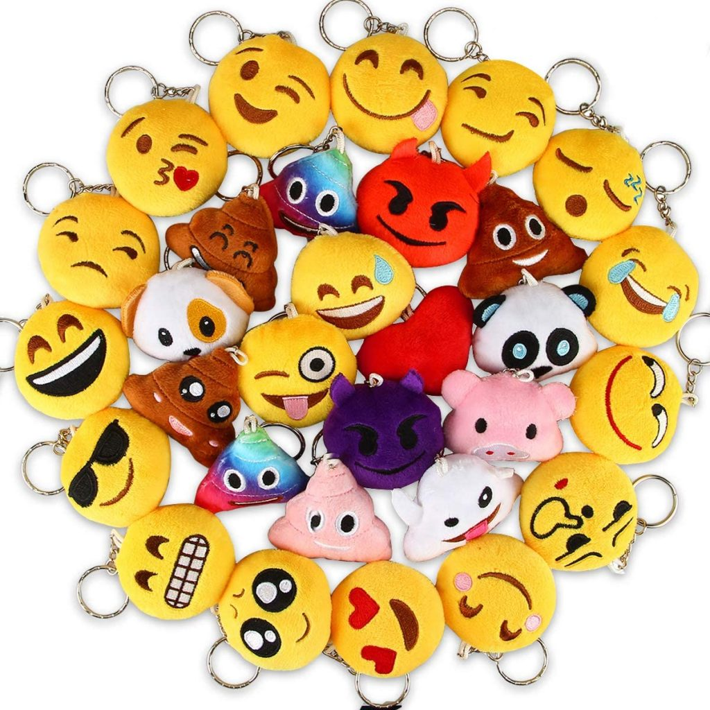 Fluffy Emoticons Key-Chains Treasure Box School Prize Chest Treat for Classroom