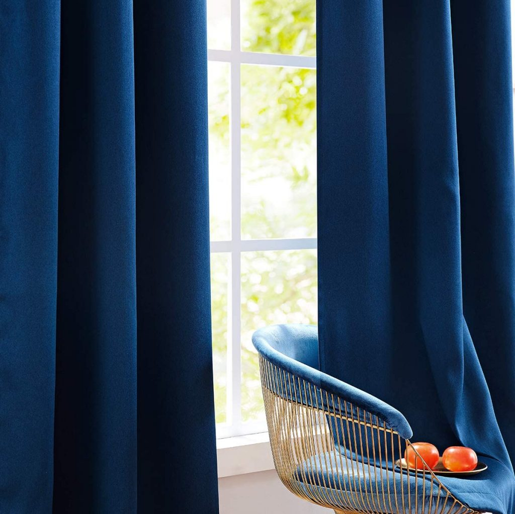 Fmfunctex Bedroom Full Blackout Curtains with 84 Inches Long and Navy Blue Shade