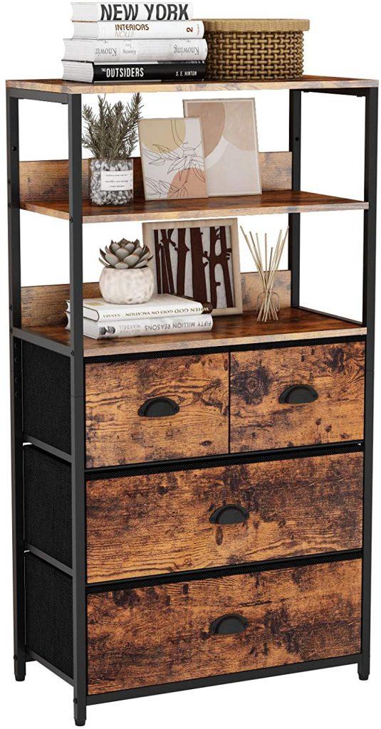 Furologee Vertical 4 Drawer Dresser Organizer with 3-Tiers Wood Shelf