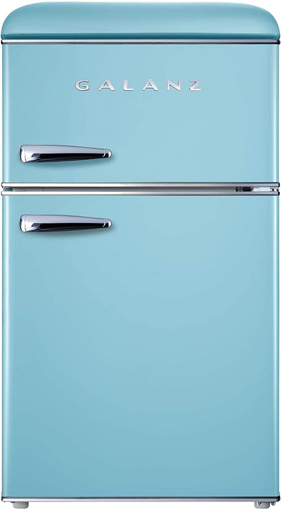 Galanz GLR31TBEER Retro Compact Refrigerator with Dual Doors and True Freezer