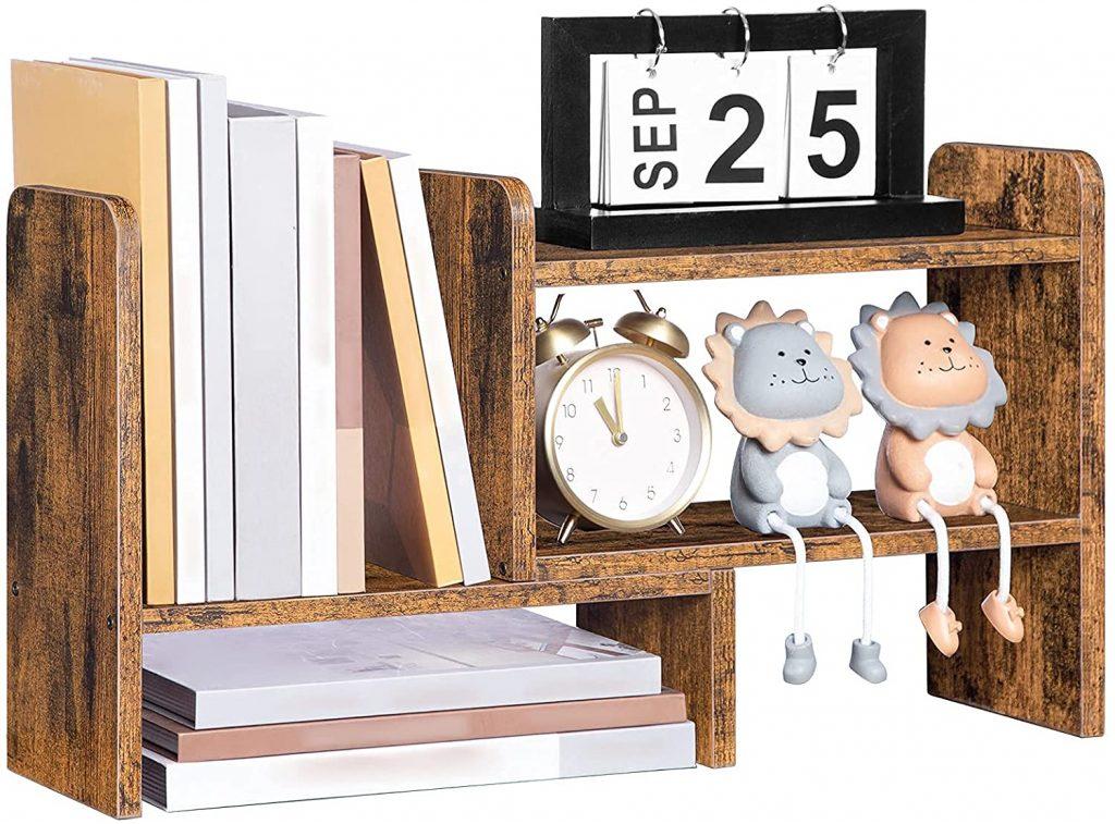 Hoobro Dorm Desk Bookshelf with Adjustable Display