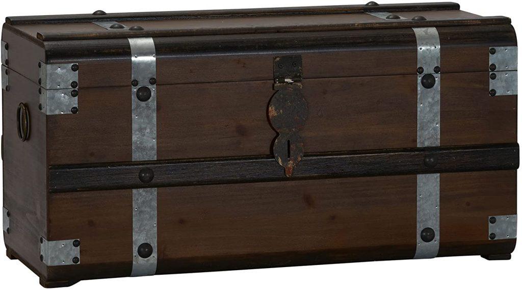 Household Essentials Steel Band Wood Storage Trunk