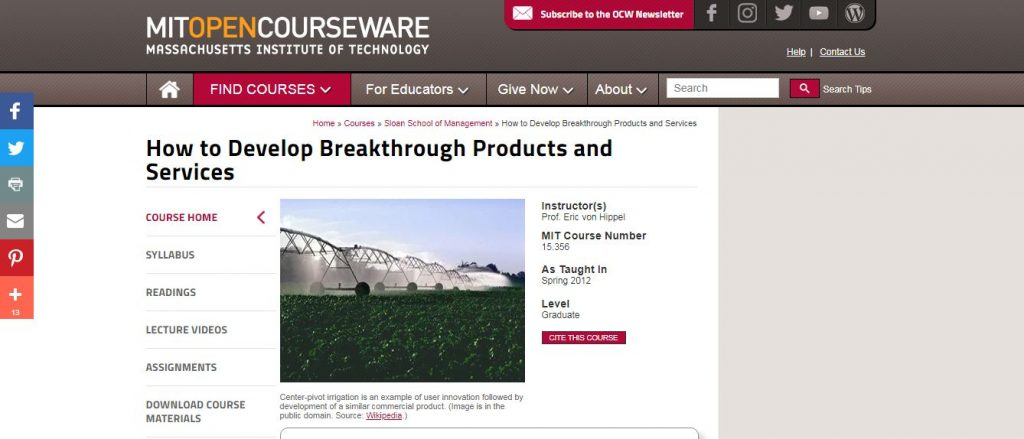 How to Develop Breakthrough Products and Services By MIT OpenCourseWare
