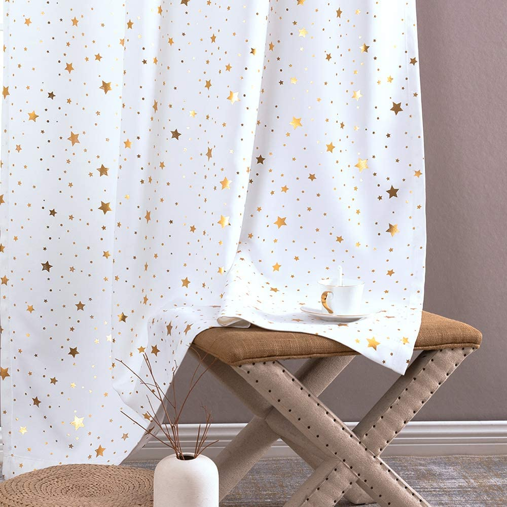 Jinchan Light Filtering Curtains for Dorm Room with Grommet Top Gold Star Pattern