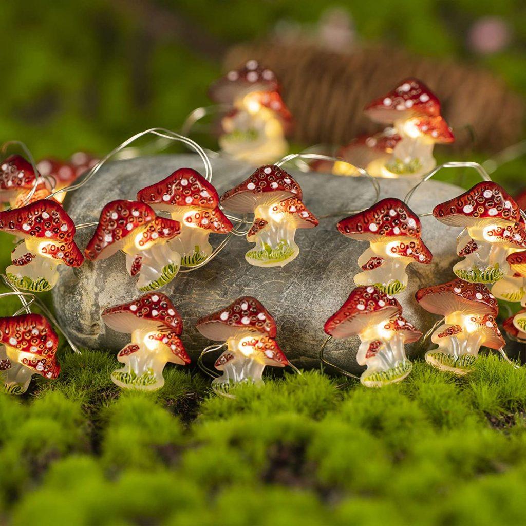 KAiSnova Mushroom-shaped Dorm String Lights with LED Lights