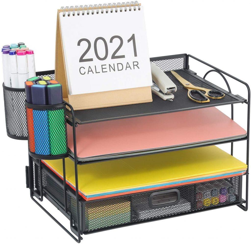 Marbrasse 4-Trays Desktop File Organizer with Pen Holder
