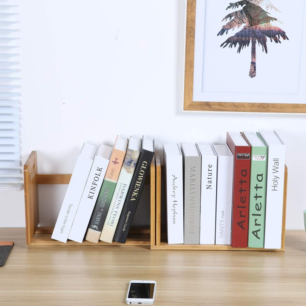 Maydear Bamboo Desktop Bookshelf with Modern and Minimal Style Design