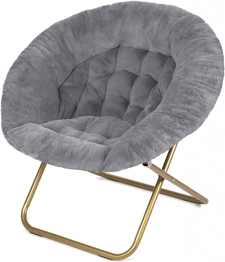 Milliard Cozy Chair for College Dorm Room with Faux Fur and Folding Feature