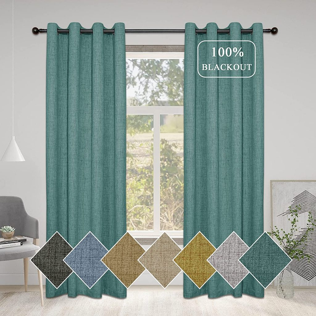 Mingshire 84 Inches Water Proof Curtains for Dorm Room with Linen Texture Panels
