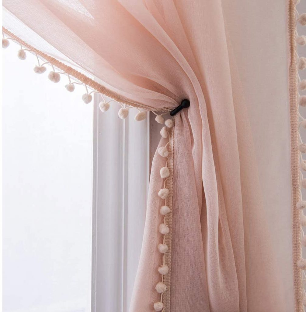 Miss Selectex Linen Drapes for Girls Dorm Room with Look Pompom Tasseled and Rod Pocket Voile
