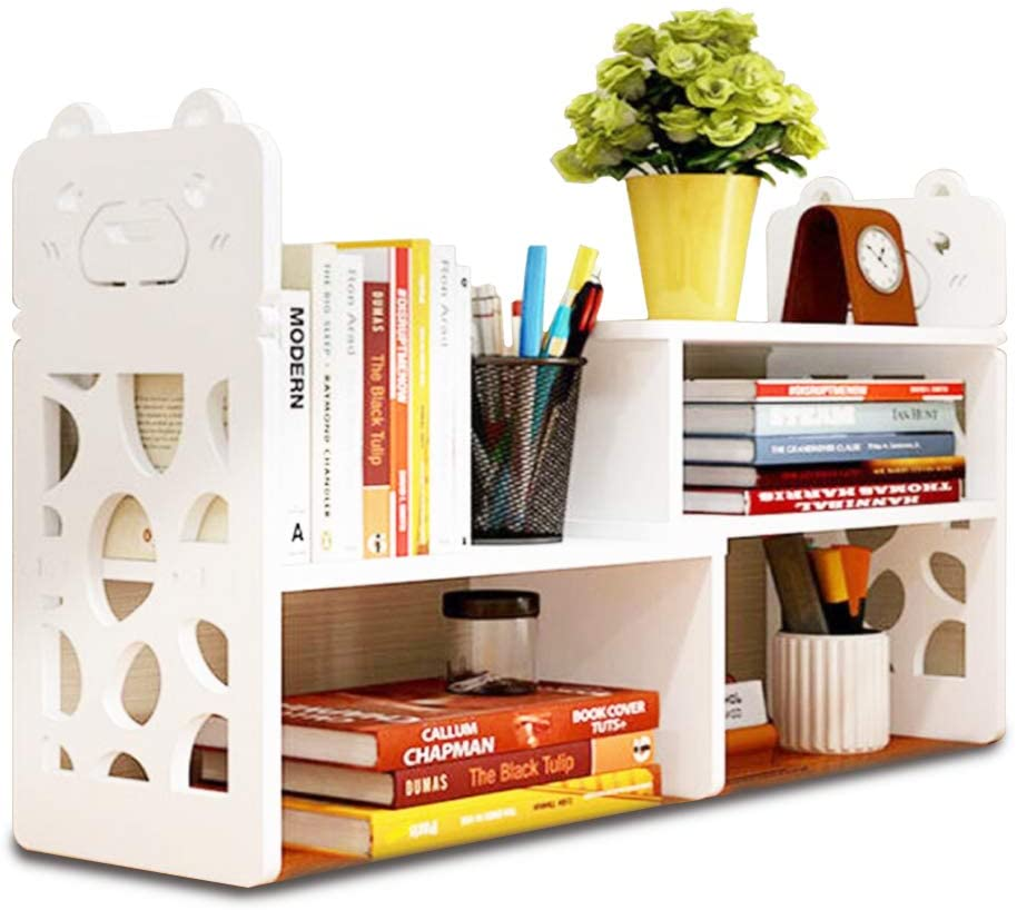 Modern Pattern Dorm Desk Bookshelf with White Shade and Comes with Narrow Top Cubicle Space