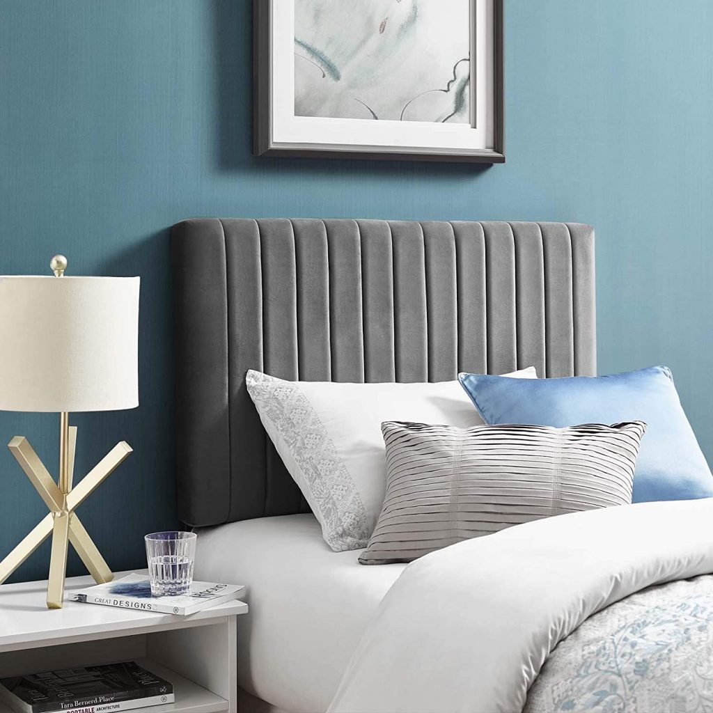 Modway Keira Channel Tufted Performance Velvet Upholstered Twin Headboard in Gray