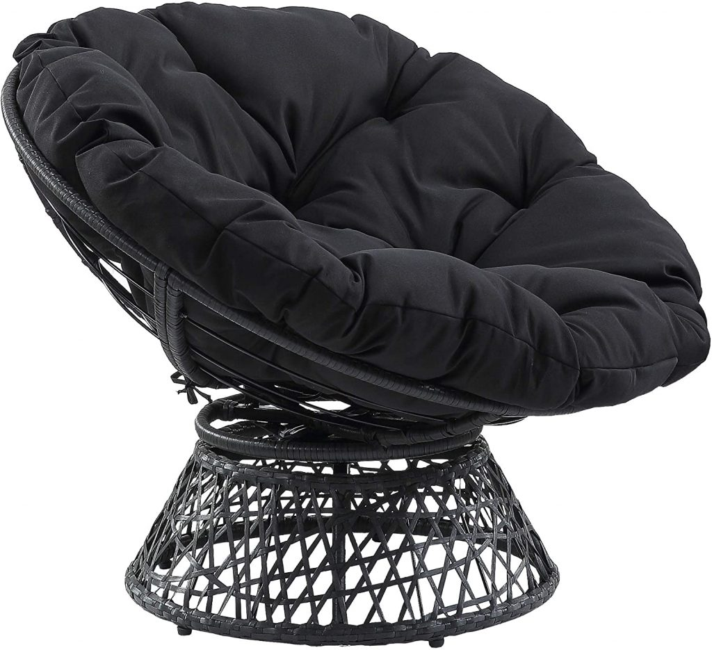 OSP Wicker Papasan Chair with 360-Degree Swivel for Dorm Essentials