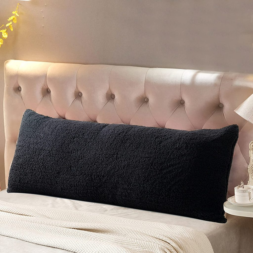 Reafort Ultra Soft Sherpa Body Pillow with Zipper Closure