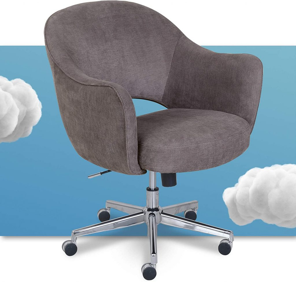 Serta Valetta Upholstered Chair for College Dorm with Swivel Accent Mode
