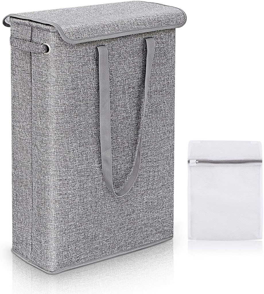 Slim Laundry Basket with Lid and Handles