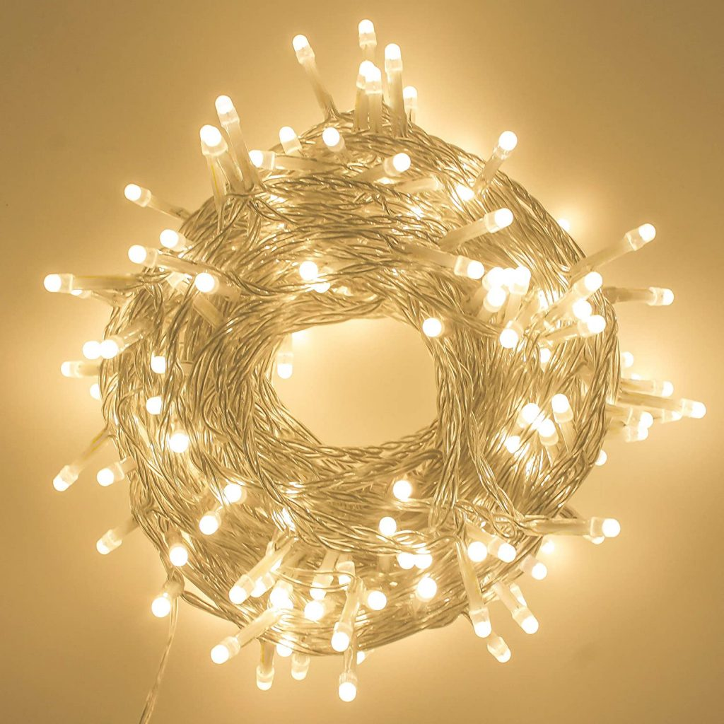 String Lights with LED bulbs and a Soft, Warm White Touch