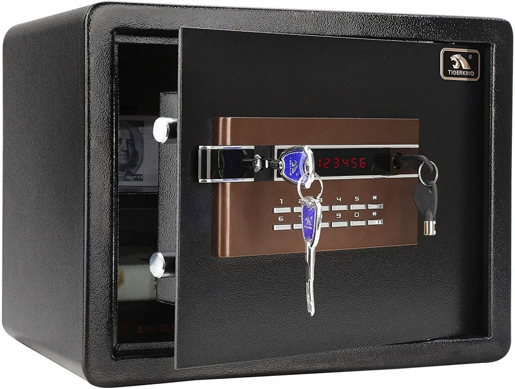 Tigerking Digital Security Safe with a Box for Dorm Room Measures around 14.8 x 11.8 x 11.8 Inches