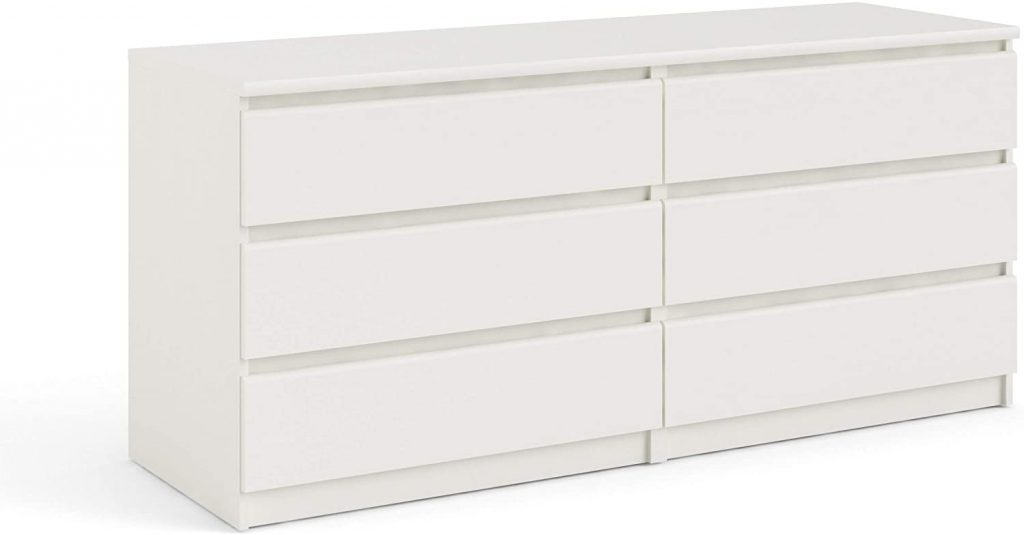 Tvilum Scottsdale 6 Drawer Double Dresser with  White Wood Grain