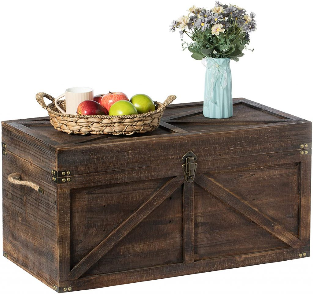 Vintiquewise Brown Large Wooden Lockable Trunk with Rope Handles