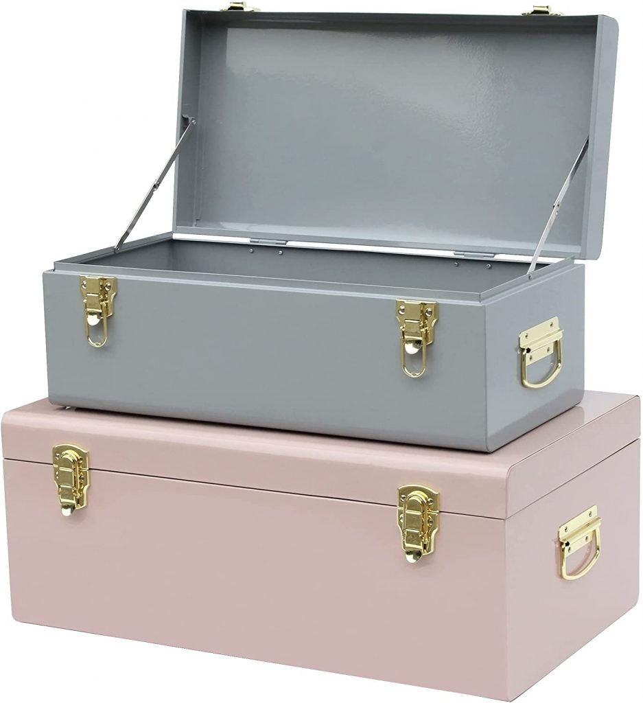 Vixdonos Metal Trunk for Dorms with Handle