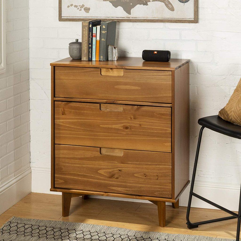 Walker Edison Dorm Dresser with 3 Mid-Century ModernStorage Design