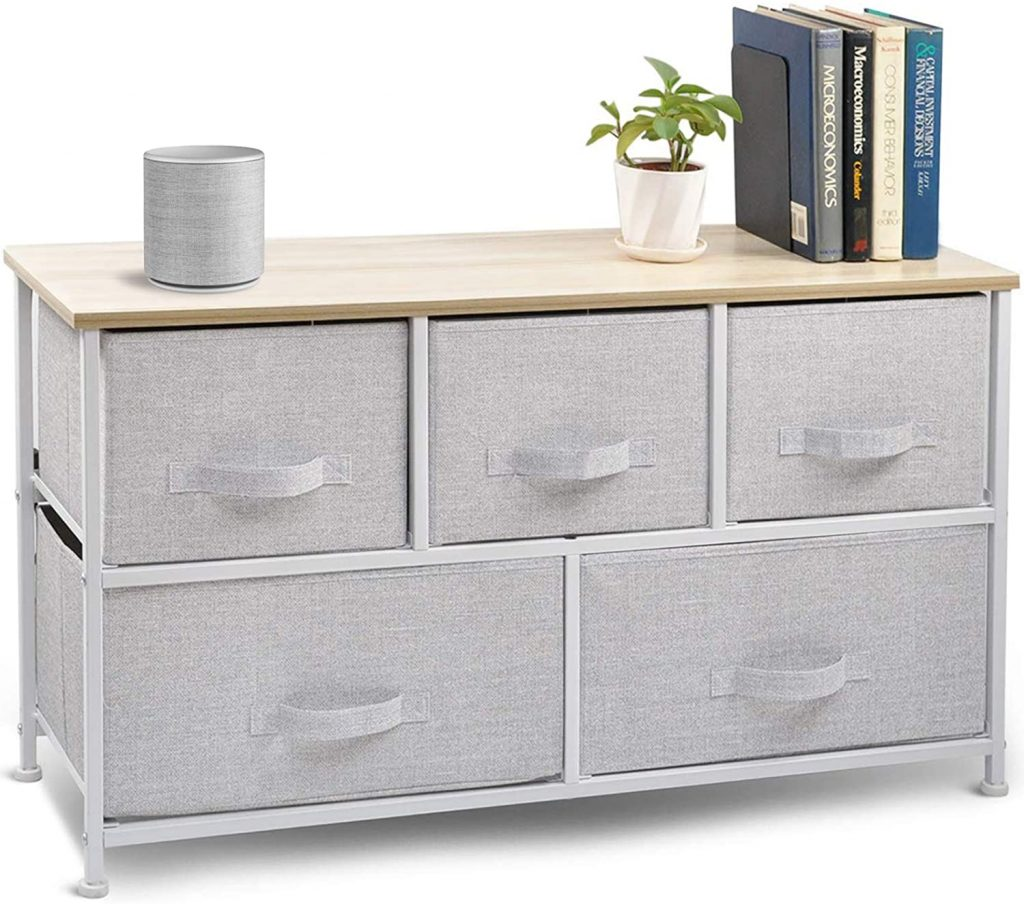 Wide Drawer Dresser Storage Organizer with 5-Drawers and Closet Shelves